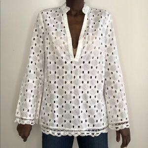 INC | Cotton Eyelet Battenburg Lace Tunic